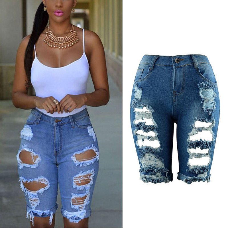 Summer 2017 High Waist Shorts Women Denim Shorts Streetwear Ripped Jeans Short Hole Worn Casual Vintage Women Shorts K8 summer women fashion high waist jeans shorts worn hole straight denim shorts solid blue curling edge poket casual shorts