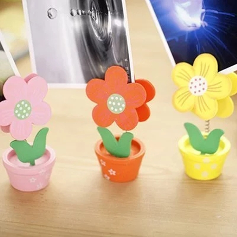 6pca/1set Hot flowers type Display stand wood Photo Message Business card Note Decoration clip Office Supplies desk gadgets