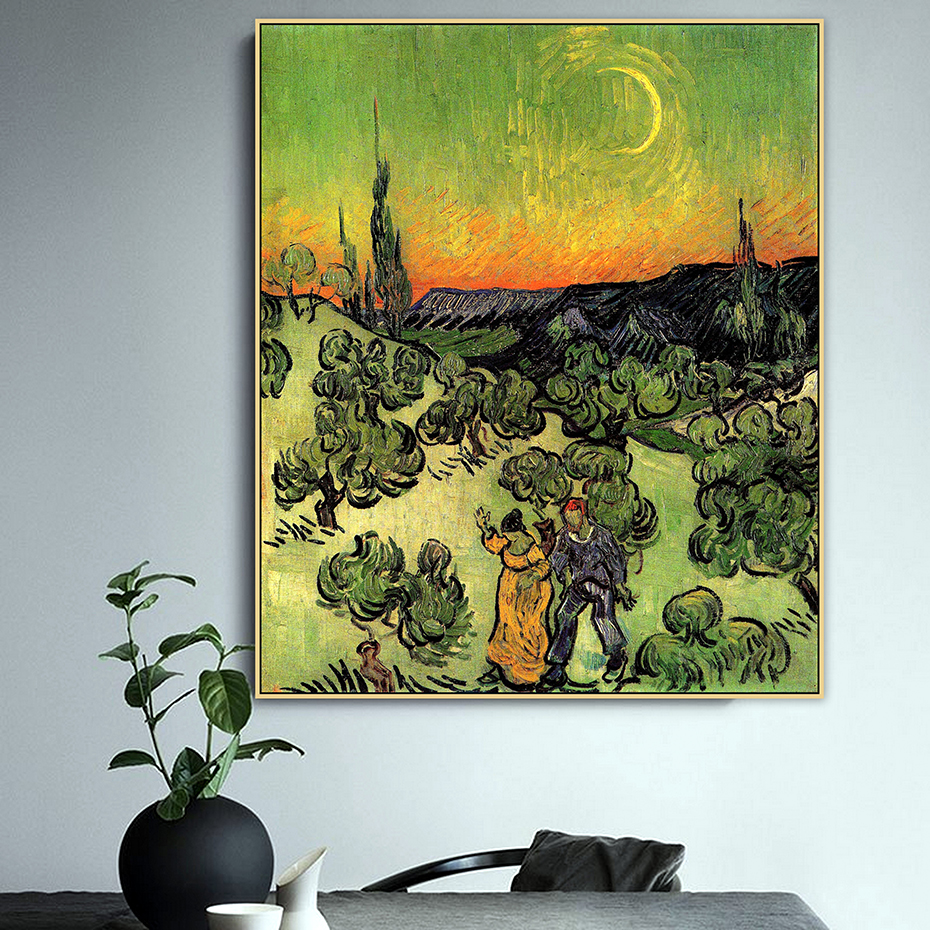 Van Gogh Famous Master Couple Walking and Crescent Moon Canvas Painting Poster Print Pictures Living Room Wall Art Home Decor in Painting Calligraphy from Home Garden