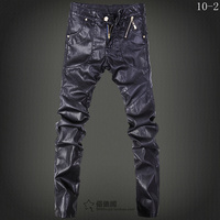 Spring 2014 Winer Men Brand Fashion Casual Thermal Locomotive Slim Tight Leather Pants Men S Clothing