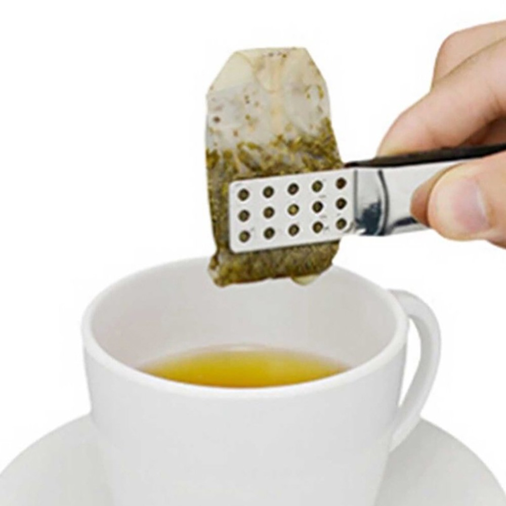 2019 New High Quality Tea Bag Clip Stainless Steel Squeezer Strainer Easy Squeeze Teabag Holder Grip Tongs Home Accessories