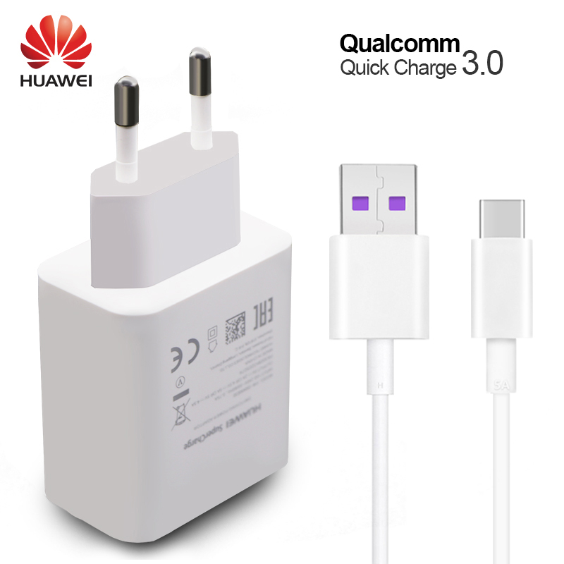 HUAWEI P10 Plus Fast Charger Mate 9 10 Pro Supercharge Quick Travel Wall Adapter 4.5V5A/5V4.5A Type-C 3.0 USB Cable 1M Original