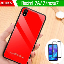 Anti-knock Tempered glass + Case Redmi 7a 7 Note Glass Silicone PC On For Xiaomi 7A GLASS CASE
