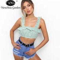 NewAsia Garden Summer Beach Ruffles Plaid Ladies Woman Casual Tops Plain U Neck Sleeveless Tie Front