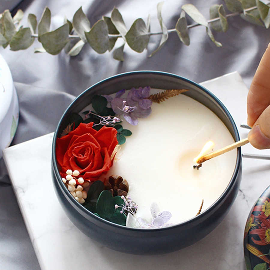 Aliexpress Decoration Maison Scented Soy Wax Candle Natural Flower Beauty Light Candle Decoration Decorative Candles Bougie Parfum Maison Candles Jar 50ko353