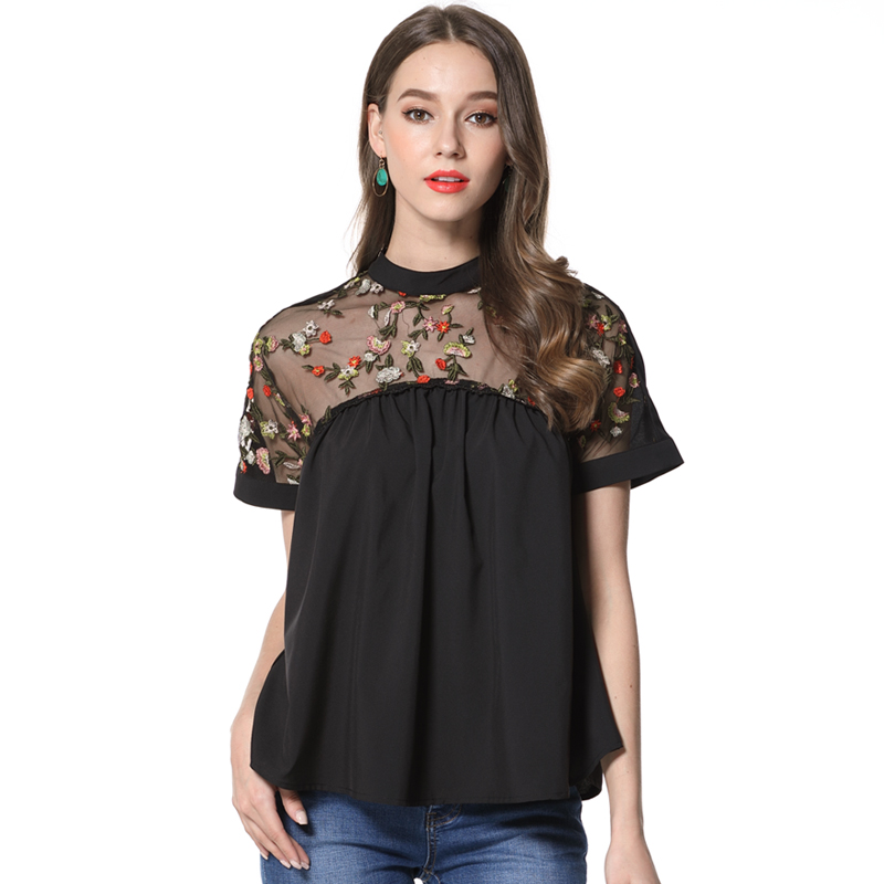 Mara Alee Women Blouses Summer Tops Black Embroidered Blouses Shirts Blusas Plus Size mujer de moda