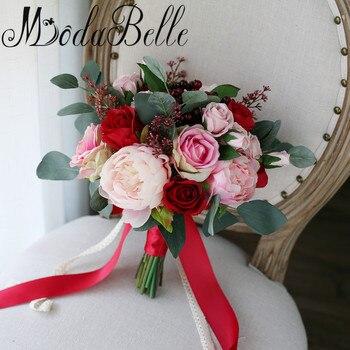 Modabelle Rot Rosa Wald Hochzeit Blumen Braut Bouquet Buket