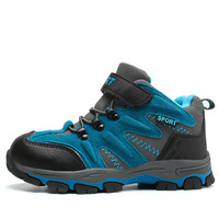 High Top Children Outdoor Shoes Boys And Girls Plus Velvet Kid Mountaineering Shoes Teens Non Slip