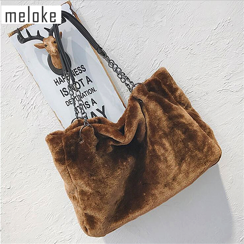 Meloke 2019 Hot Women Fur Large Size Handbags Casual Shopping Bags Metal Strap Travel Bags Winter Bags Drop Shipping MN868