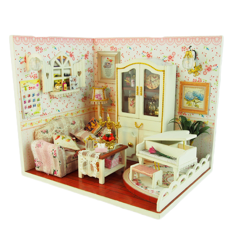 DIY Wooden Doll House Romantic Dolls Piano Dollhouse With LED Light Miniature Furniture Kits Puzzle Toys Birthday Gift