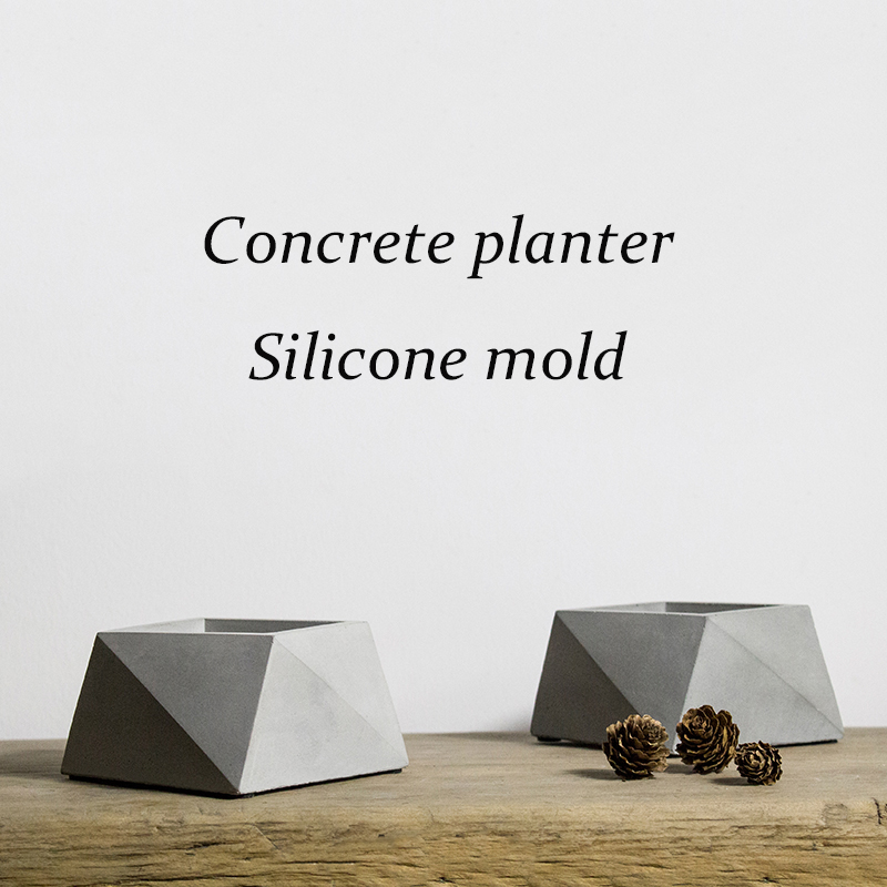 V005 Creative square cement succulents pot vase silicone mold clay crafts home decoration polygon concrete planter molds