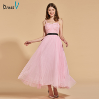 Dressv pink beading long prom dress straps empire waist pleats backless simple a line appliques evening party gown prom dresses