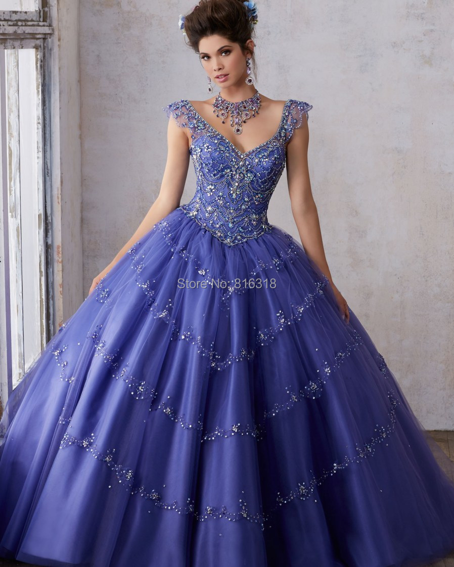 Sparkly Crystal Beading Purple Quinceanera Dresses With ...