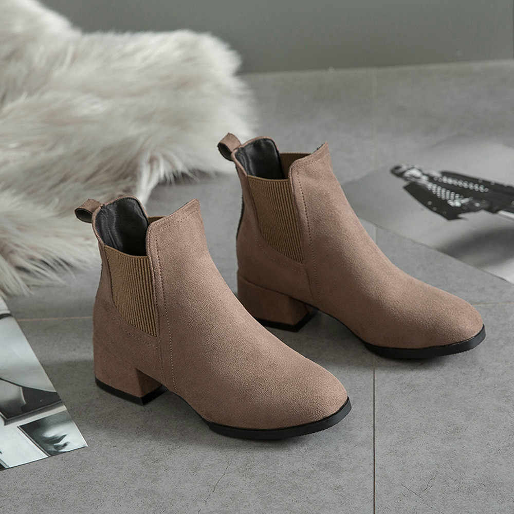 be46f4902608 ... YOUYEDIAN Winter Boots women 2018 Black Ankle Boots For Women Thick  Heel Slip On Ladies Shoes ...