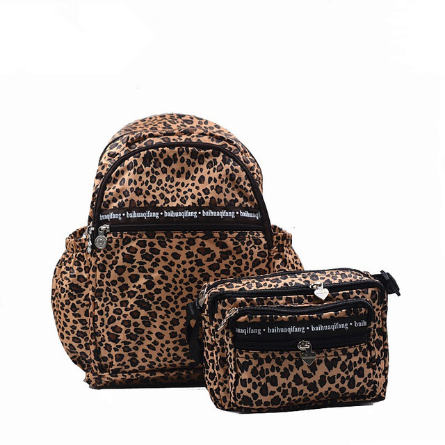 Fashion new small leopard backpack set with purse designer casual water  proof PVC female travel backpacks casual shoulder bag