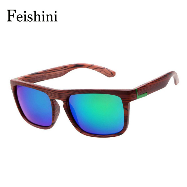 FEISHINI Comfortable Gifts HD Glasses For Women Drivers Grain Sense Square Imitation Wood Sunglasses Men Polarized Fishing