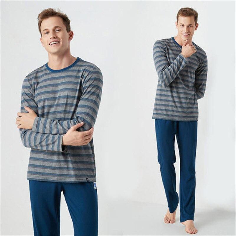 Autumn Long Sleeve Men's Pajamas Casual Loose Men Pyjama Sets Striped Blue Cotton Pajamas For Men Homewear Sleep Lounge MA50188