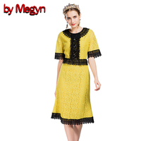 By Megyn Women Runway Lace Dress Summer Noble Ladies Short Sleeve Knee Length Hollow Out Slim