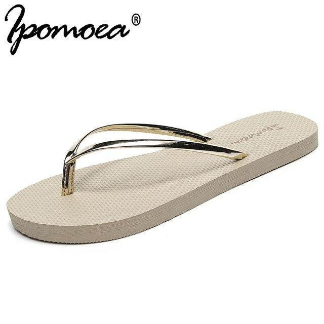 7576e19f2b45e Ipomoea 2019 Summer Hot Sale Golden Women Flip Flops Beach Slippers  Lightweight Summer Shoes Sweet EVA