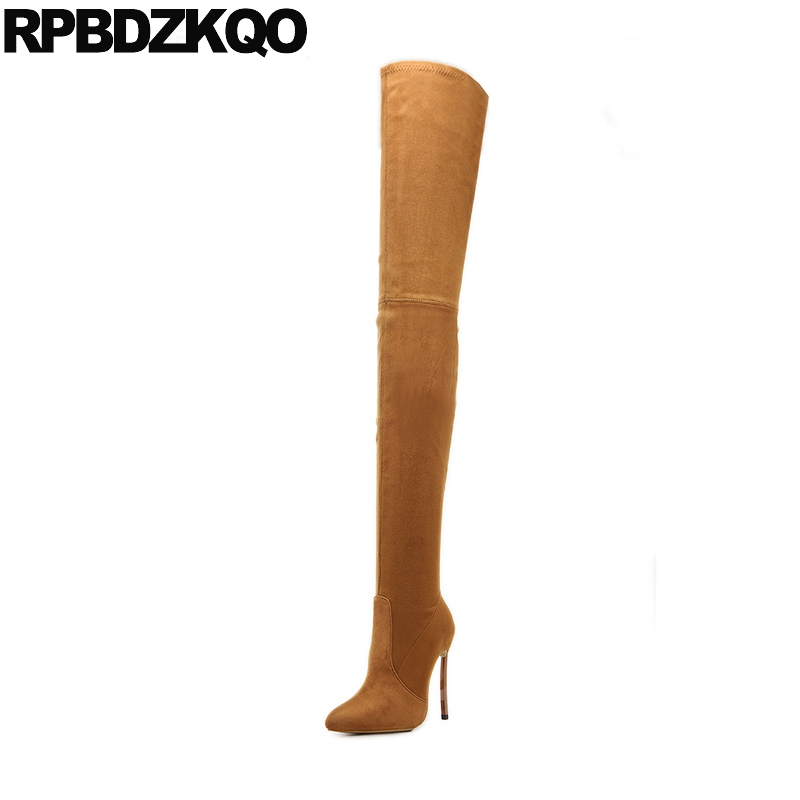 Stiletto 10 Thin Sexy Fetish Knee High Brown Dance Thigh Ladies Pointed Toe Fashion Slim Big Size Suede Women Boots Extreme Heel