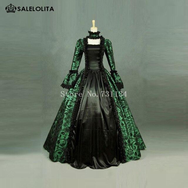Discount Custom Made Vintage Victorian Medieval Style: Aliexpress.com : Buy Green Print Brocade Victorian Dress