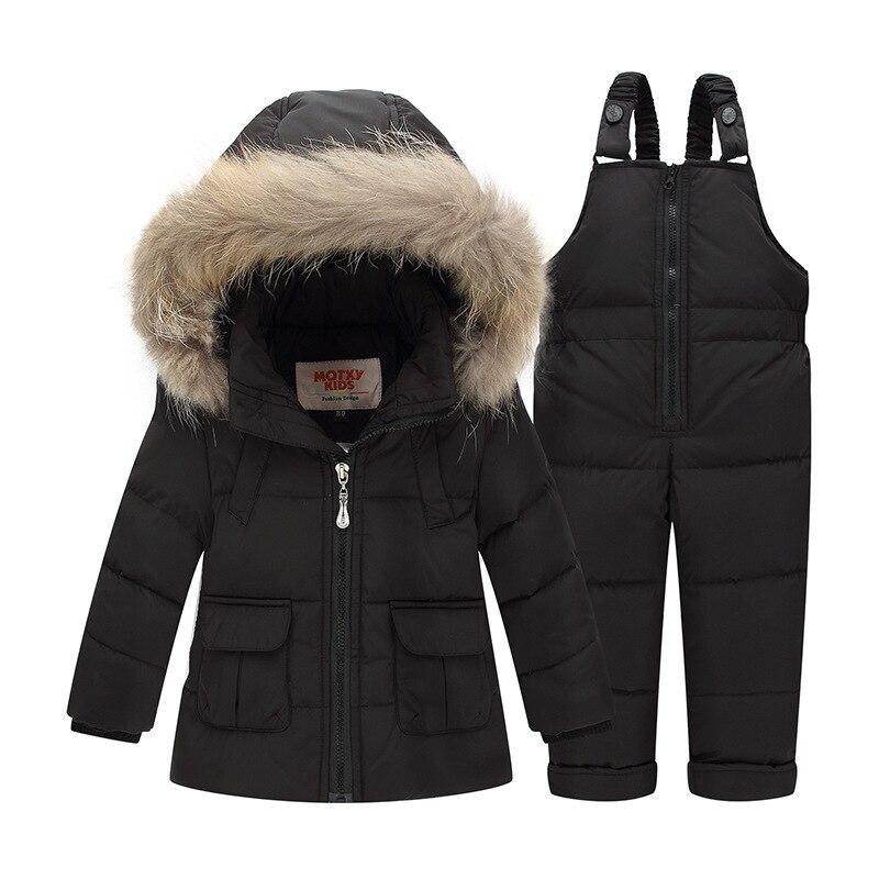 2017Children Boys Girls Winter Warm Down Jacket Suit Set Thick Coat+Jumpsuit Baby Clothes Set Kids Hooded White Duck Down Jacket