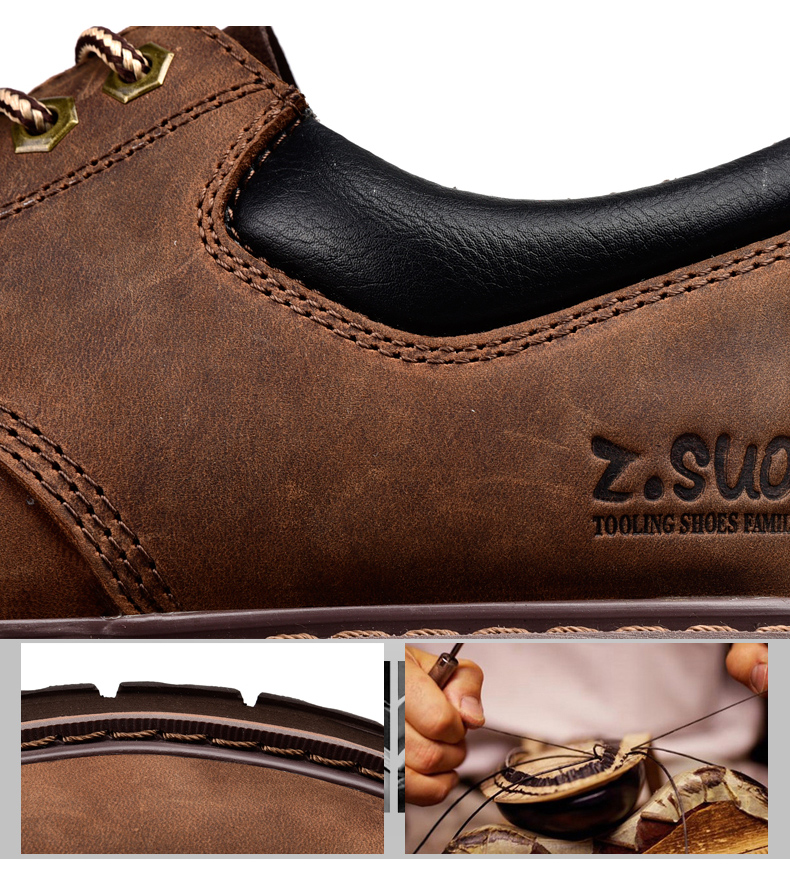 19 New Fashion Men's Genuine Leather Shoes Men Lace Up Oxford Flats Spring Autumn Comfortable Handmade Moccasins Men Shoes 7