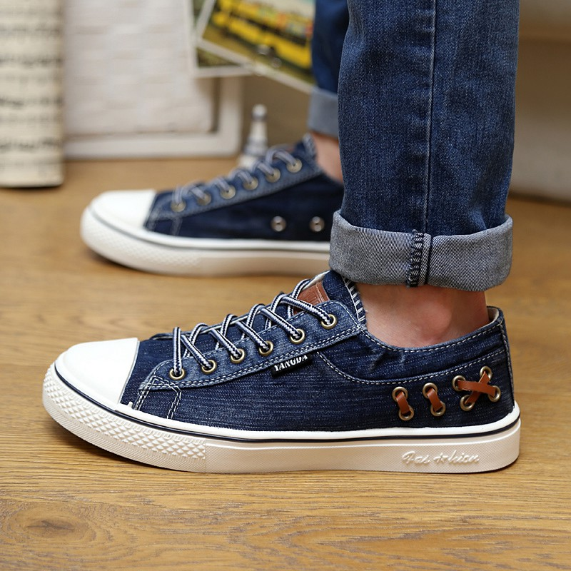 Fashion Quality High Top Denim Shoes for Men New 2018 Spring Summer Breathable Jean Canvas Shoes Man Casual Skate Footwear