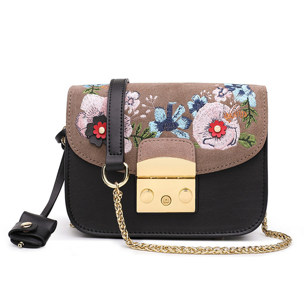 Women Genuine Leather Mini Chains Handbags Chinese style Flower Embroidery Handbag Lady Shoulder Messenger Bags Beautiful Bag 2018 new original genuine leather women handbags shoulder portable embroidery bag ethnic style embroidery big dumplings bags