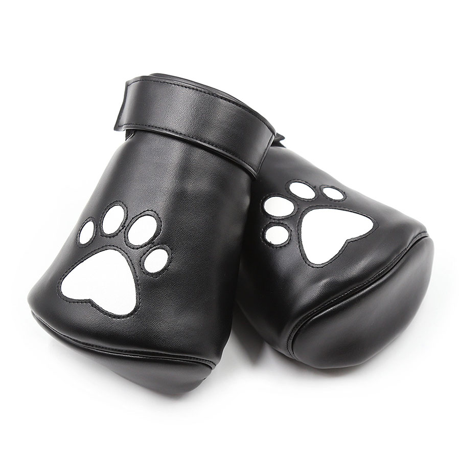 Padded Black Real Leather Fist Mitts Gloves 2 Pieces Restraints Bondage Lockable