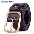 2017 Nueva Moda de Alta calidad Cinturones de Hebilla de pasador de cobre sólido para Los Hombres 100% real de cuero Para Hombre de La Correa Ocasional de la correa de lujo LH-P09