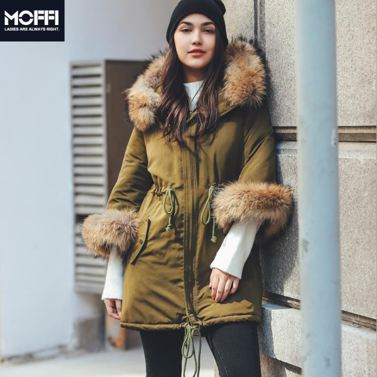 2018 winter women big raccoon fur collar   parka   Winter jacket women coats Outerwear with sleeve fur   parkas   175906