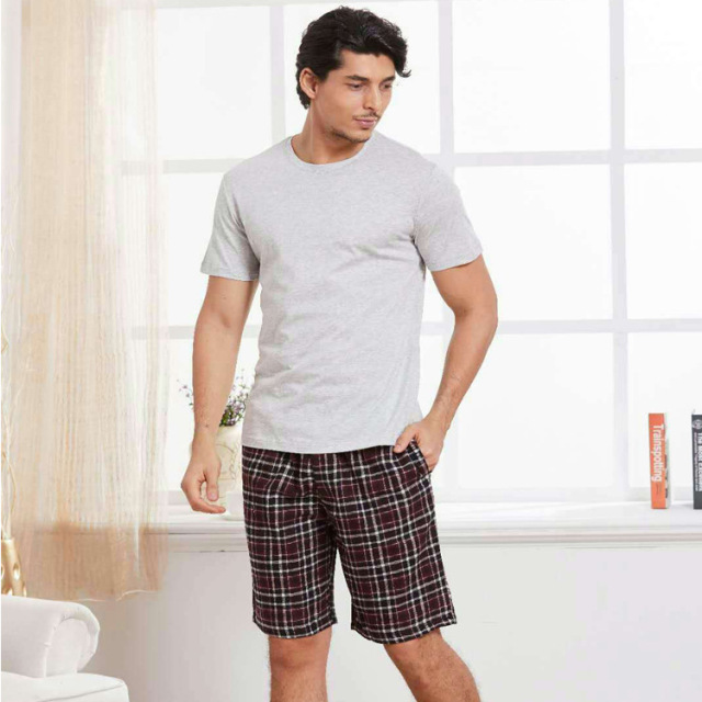 100% cotton men pajamas short Summer Pajamas sets men casual plaid pijamas for male short sleeves homewear pyjamas men