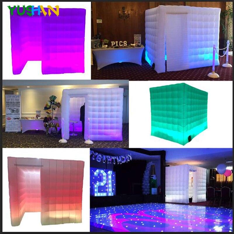 Хороший светодио дный Цвет изменение Портативный стенки фото павильона левом углу двери Свадебные Photo booth приятно надувные Cabina Booth