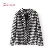 Joli S Dolce 2017 Autumn Winter Office Lady Style Blazer High Quality Regular Collarless With Tassel