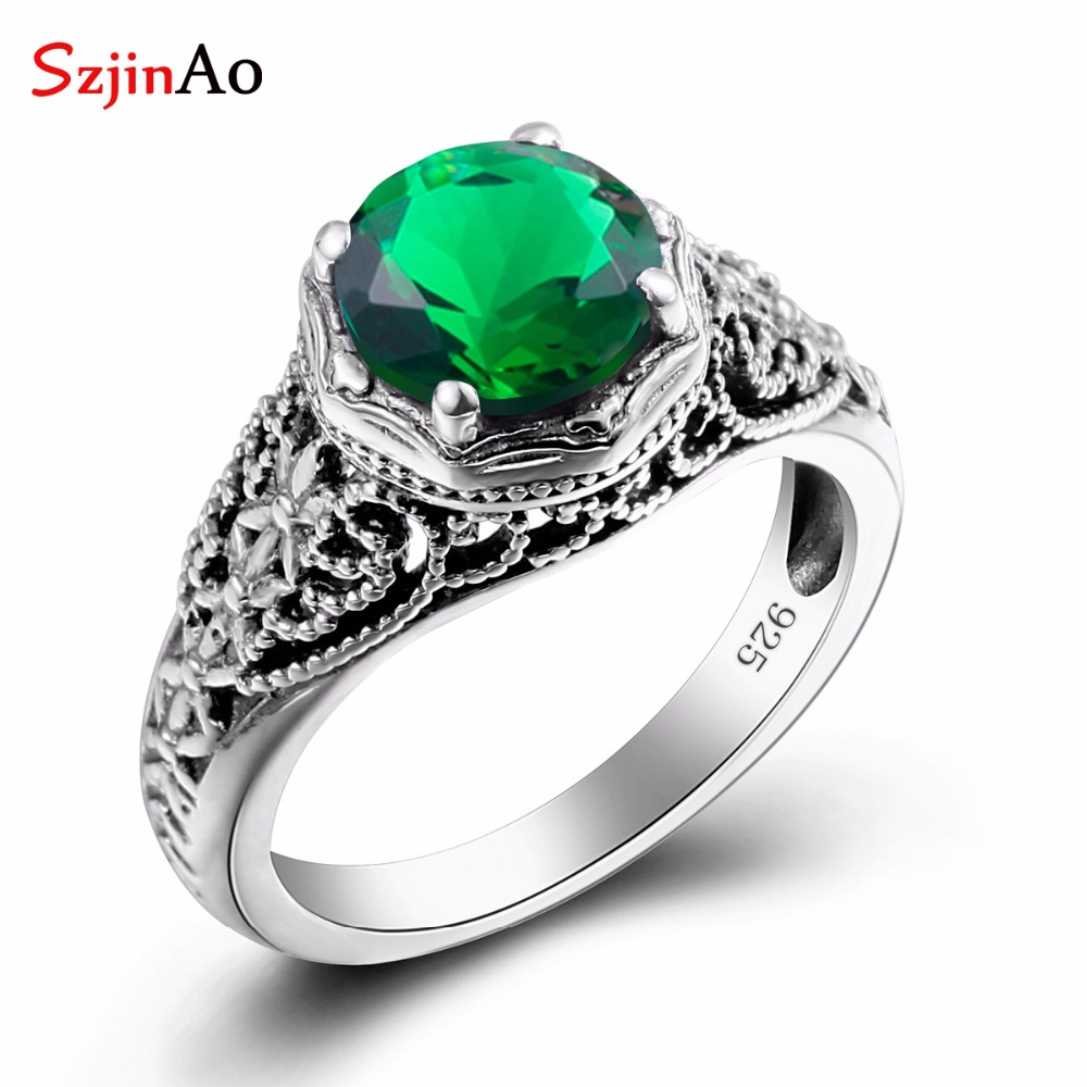 SzjinAo Emerald Woman Ring Flower Carving Vintage 925 Sterling Silver Rings Austrian Crystal Engagement rings Woman Jewelry