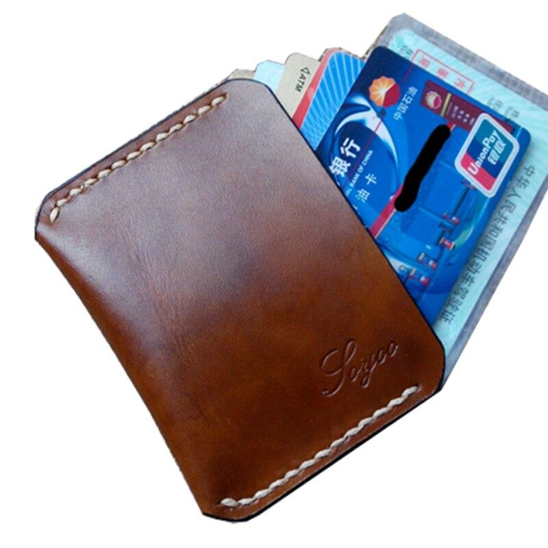Handmade Credit Card Holder Genuine Leather Vintage Wallet