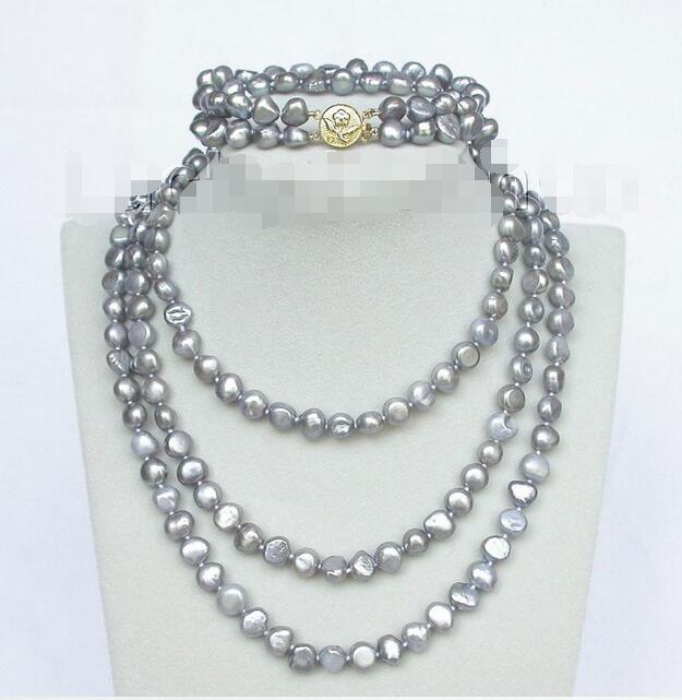 """Vente chaude livraison gratuite ***** longueur 49 """"8"""" 8-9mm baroque Gris perles collier 2row bracelet ensemble"""