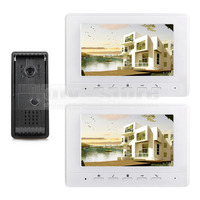 800 X 480 7inch Video DoorPhone Doorbell Intercom Metal Shell Camera LED Night Vision 2 Monitors