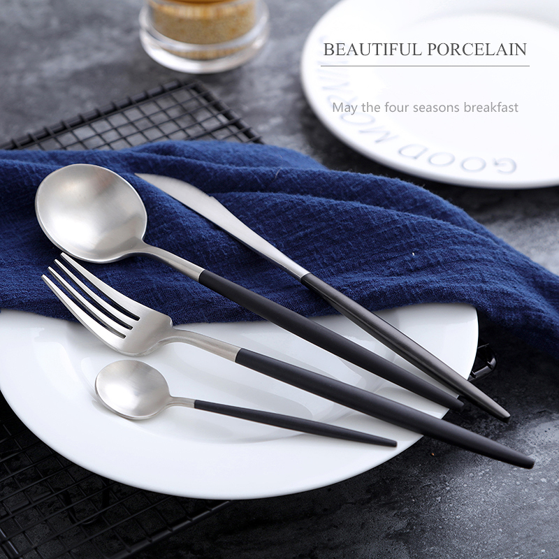 KuBac 24pcs Double Color Golden Silver Dinnerware Set Stainless Steel Dinner Knife Fork and  Teaspoon Cutlery Set