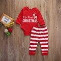 Младенческая Baby Мое Первое Рождество Детская Одежда Наборы С Длинным Рукавом Печати Боди + Полосой Брюки Хлопка Младенца Наряды Красный Одежда