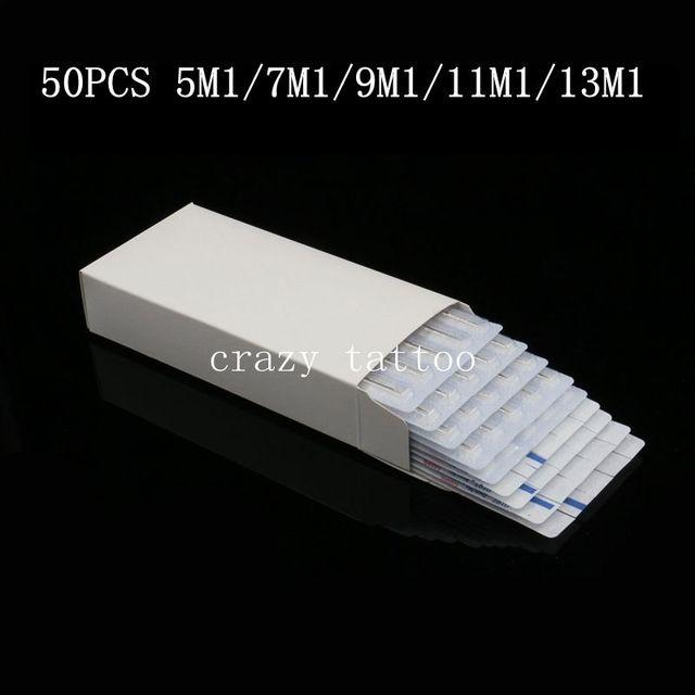 Assorted 50PCS Tattoo Machine Needles Disposable 5/7/9/11/13 Single Stack Magnum Sterilize Mix Lot Tattoo Gun Tip