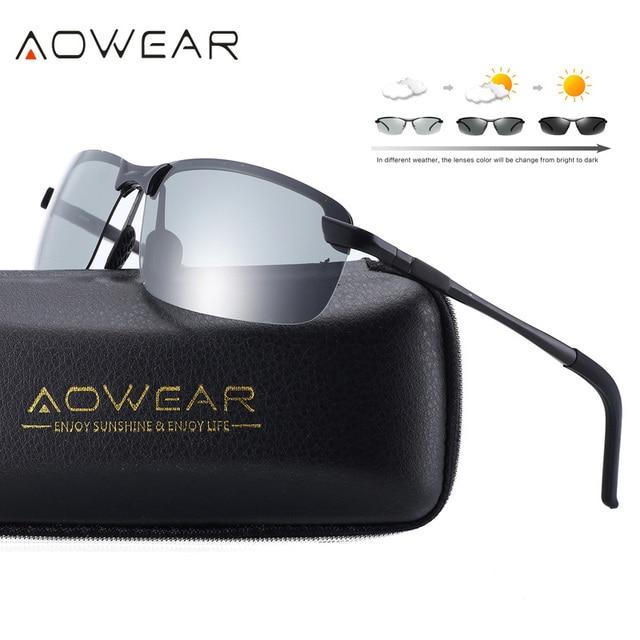 937a5323b8 AOWEAR HD camaleones gafas de sol hombres polarizados fotocromáticos  Chameleon para día noche de conducción gafas