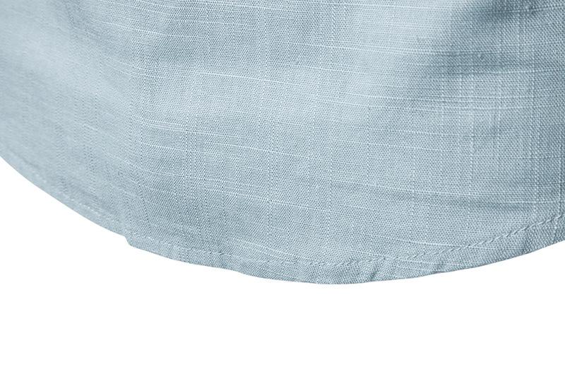 Tunique col Mao bleue clair, manches longues, détails