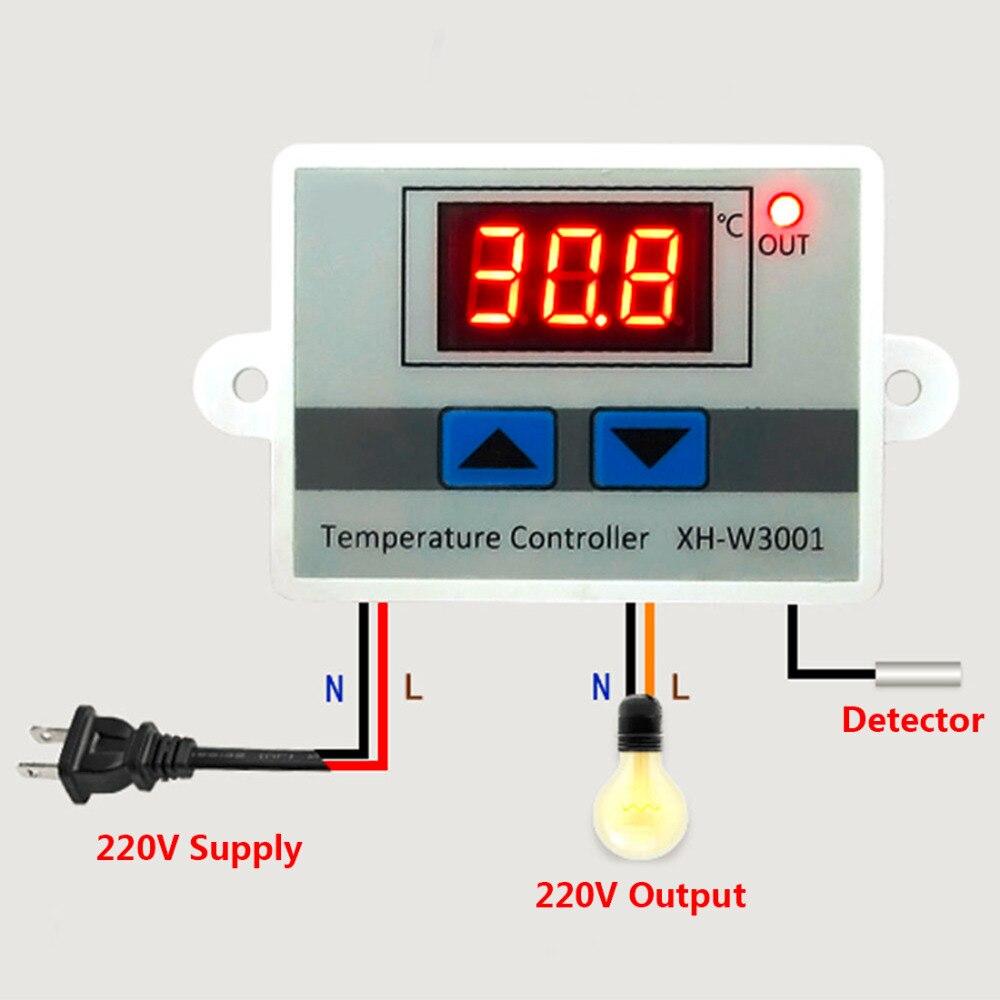 DC 12V Digital Temperaturregler Thermostat Schalter mit NTC wasserdicht Sensor