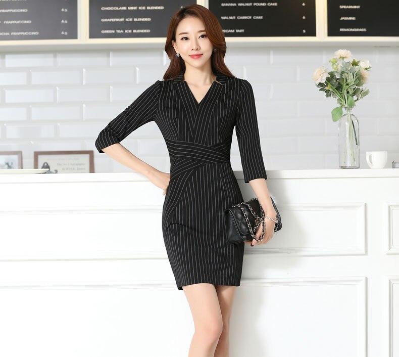 Fashion Striped Spring Summer Formal Ladies Dresses Uniforms Ol