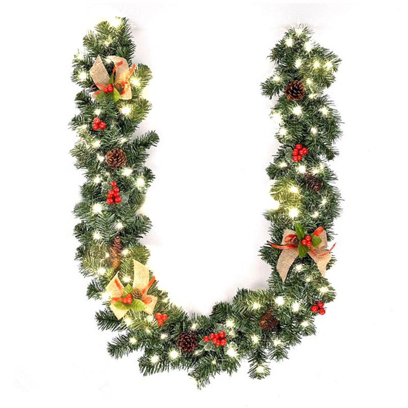 Xmas Supplies 1.8M Christmas Decoration Bar Tops Ribbon Garland Christmas Tree Ornament Tree Cane Tinsel Party Festival Supplies