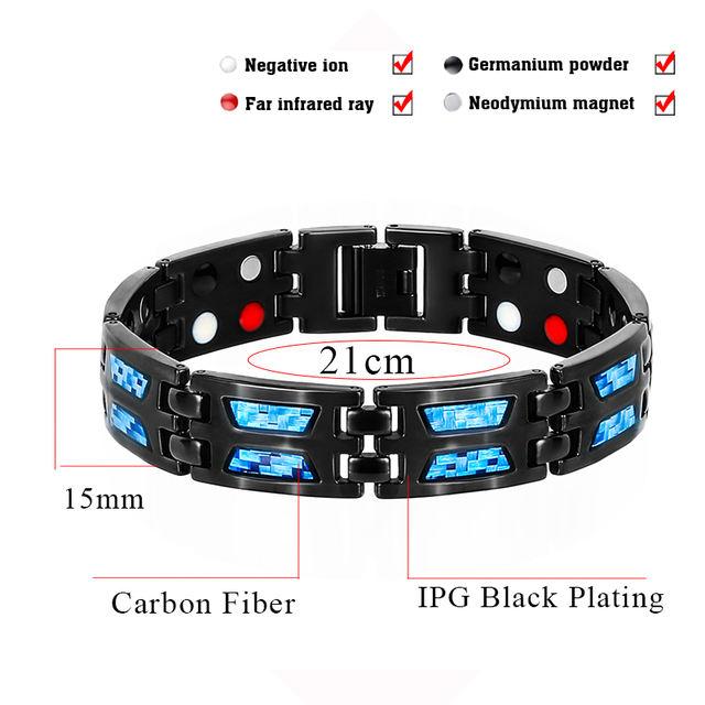 Magnetic Germanium Titanium Blue Carbon Fiber Bracelet for Men