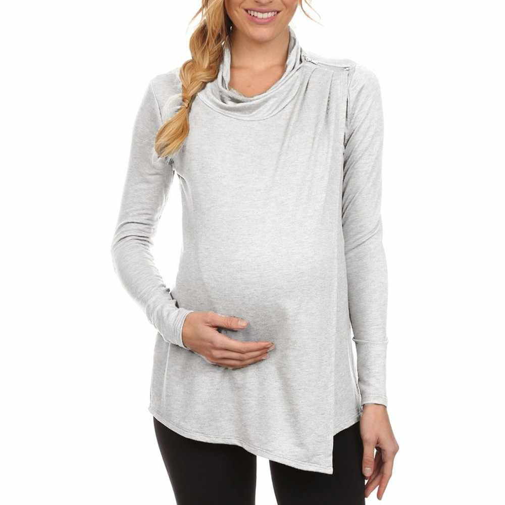 e7b727de59c TELOYUNY maternity breastfeeding tunic for pregnant women Long Sleeve Cowl  Neck Side Open Nursing Tops T