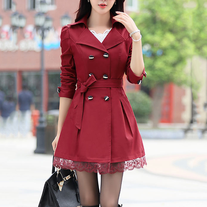 Autumn 2019 Tunic Double breasted Lace Trench Coat Women Slim 11 Colors Long